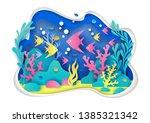vector paper cut underwater sea ... | Shutterstock .eps vector #1385321342