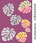 vector tropical pattern with... | Shutterstock .eps vector #1385363435