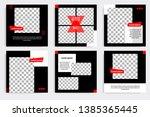 six set editable minimal square ... | Shutterstock .eps vector #1385365445