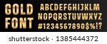 gold font numbers and letters... | Shutterstock .eps vector #1385444372