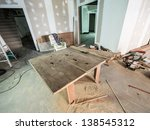 wooden table for labor working... | Shutterstock . vector #138545312