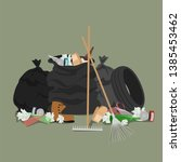 garbage collection. garbage... | Shutterstock .eps vector #1385453462