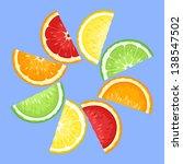 citrus fruits slices on blue.... | Shutterstock .eps vector #138547502