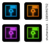 glowing neon floppy disk in the ... | Shutterstock .eps vector #1385490752