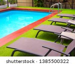 sunbeds on green grass and grab ... | Shutterstock . vector #1385500322