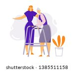 help and care old people...   Shutterstock .eps vector #1385511158