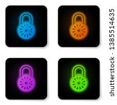 glowing neon safe combination... | Shutterstock .eps vector #1385514635