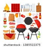 vector set of bbq party ... | Shutterstock .eps vector #1385522375