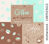 4 pattern with coffe and logo... | Shutterstock .eps vector #1385525612