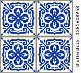 majolica pottery tile  blue and ... | Shutterstock .eps vector #1385608958