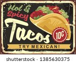 hot and spicy mexican tacos.... | Shutterstock .eps vector #1385630375
