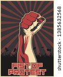 fist of protest  isolated... | Shutterstock .eps vector #1385632568