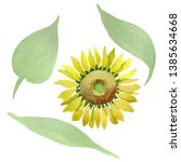 sunflower floral botanical... | Shutterstock . vector #1385634668