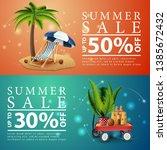 summer sale  two discount... | Shutterstock .eps vector #1385672432