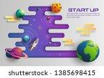 paper art style of rocket... | Shutterstock .eps vector #1385698415