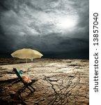a deck chair and beach umbrella ...   Shutterstock . vector #13857040