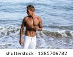 beautiful man with naked... | Shutterstock . vector #1385706782