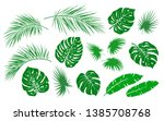 tropical green palm leaves and... | Shutterstock . vector #1385708768