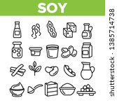 soy products  food linear... | Shutterstock .eps vector #1385714738