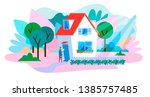 professional delivery service... | Shutterstock .eps vector #1385757485