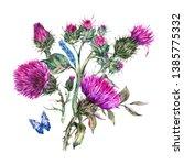 watercolor thistle  blue... | Shutterstock . vector #1385775332