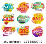 set of summer sale and discount ... | Shutterstock .eps vector #1385800742
