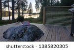 porch lake view with pink radio ... | Shutterstock . vector #1385820305