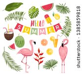 summer icons set  ice cream ... | Shutterstock .eps vector #1385859818