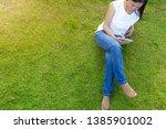 woman using mobile smart phone...   Shutterstock . vector #1385901002