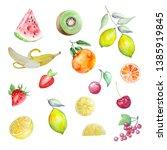 watercolor set of tropical...   Shutterstock . vector #1385919845