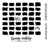 set of black brush stroke and... | Shutterstock .eps vector #1385930168