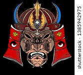tribal pattern samurai mask... | Shutterstock . vector #1385942975