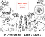 doner kebab cooking and...   Shutterstock .eps vector #1385943068