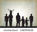 silhouette family over vintage... | Shutterstock .eps vector #138594638
