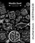 scandinavian cuisine sketch... | Shutterstock .eps vector #1385946638