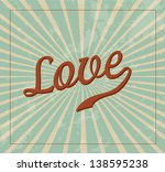 Stock vector love label over pink and blue background vector illustration 138595238