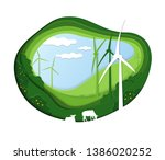 green eco landscape with wind...   Shutterstock .eps vector #1386020252
