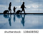 silhouette of young family with ... | Shutterstock . vector #138608582