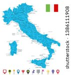 italy map and flat map icons  ... | Shutterstock .eps vector #1386111908