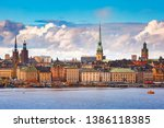 Scenic panoramic view of Gamla Stan in the Old Town in Stockholm, capital of Sweden