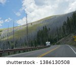 wyoming  usa  july 2018  an rv... | Shutterstock . vector #1386130508