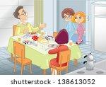 family breakfast | Shutterstock .eps vector #138613052