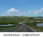 wyoming  usa  july 2018  scenic ... | Shutterstock . vector #1386131222