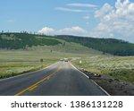wyoming  usa  july 2018  scenic ... | Shutterstock . vector #1386131228