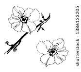 stylised flower of almond.... | Shutterstock .eps vector #1386133205