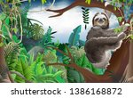 Sloth On The Tree In The Jungle