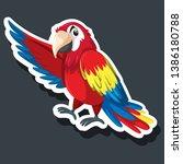 a parrot sticker character... | Shutterstock .eps vector #1386180788