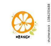 orange icon. ink hand drawn... | Shutterstock .eps vector #1386253688