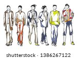stylish handsome mans in... | Shutterstock .eps vector #1386267122