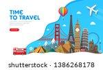 travel banner design with... | Shutterstock .eps vector #1386268178